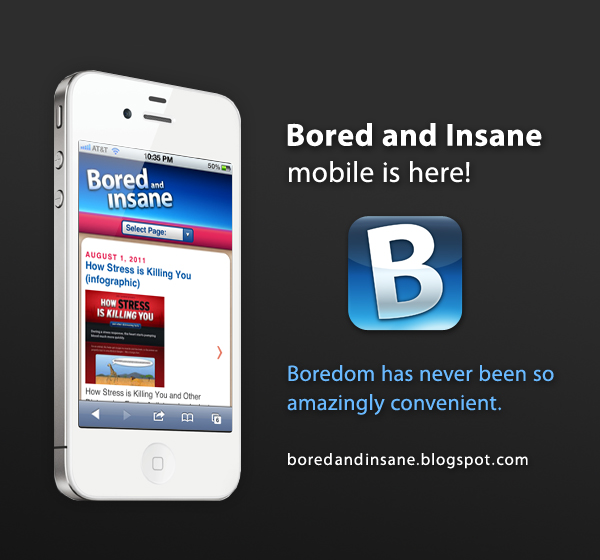 Bored and Insane mobile site— Boredom has never been so amazingly convenient
