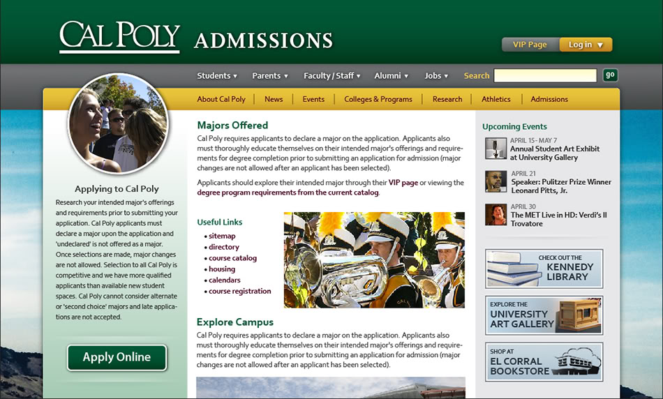 Cal Poly Admissions page