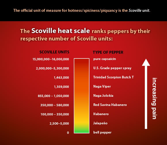 Scoville heat scale: increasing pain.