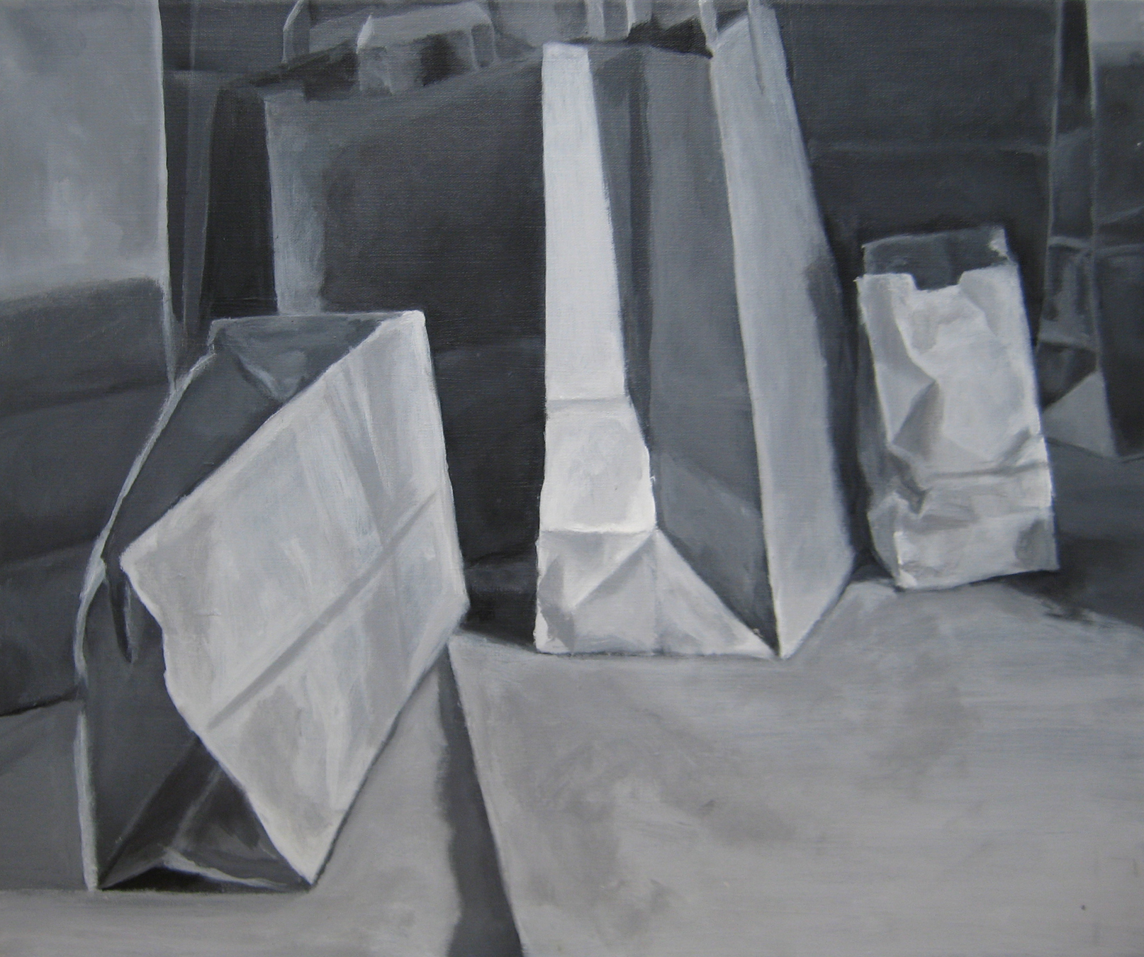 Paper bag still life, arcylic on canvas, 2010