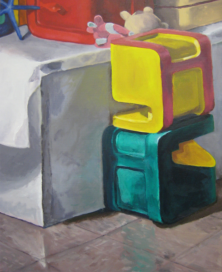 Still life with blocks and stuffed animals, arcylic on canvas, 2010