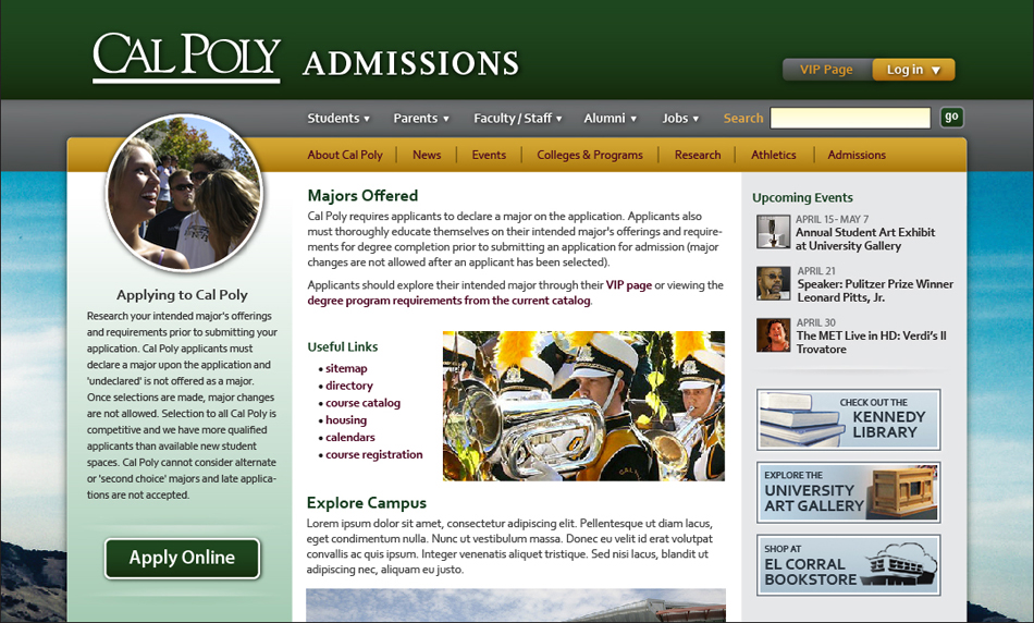 Cal Poly Website Admissions Page