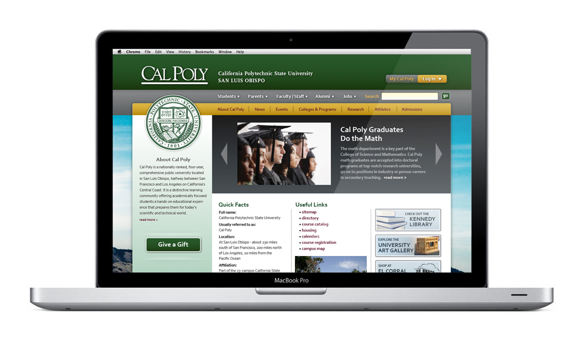 Cal Poly Website laptop application