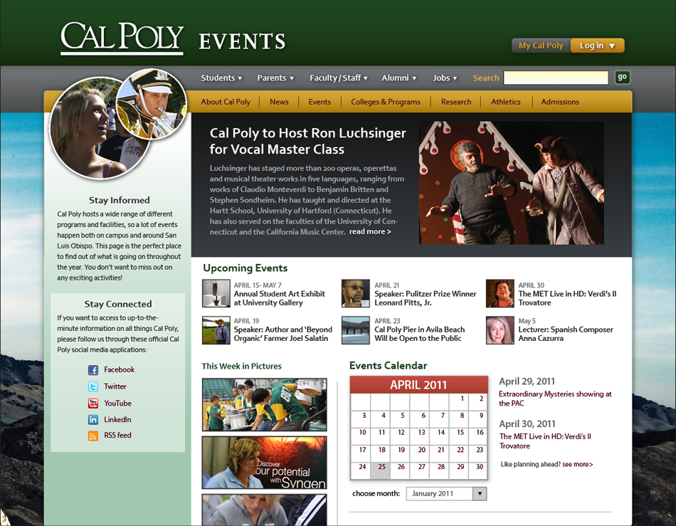 Cal Poly Website Events Page