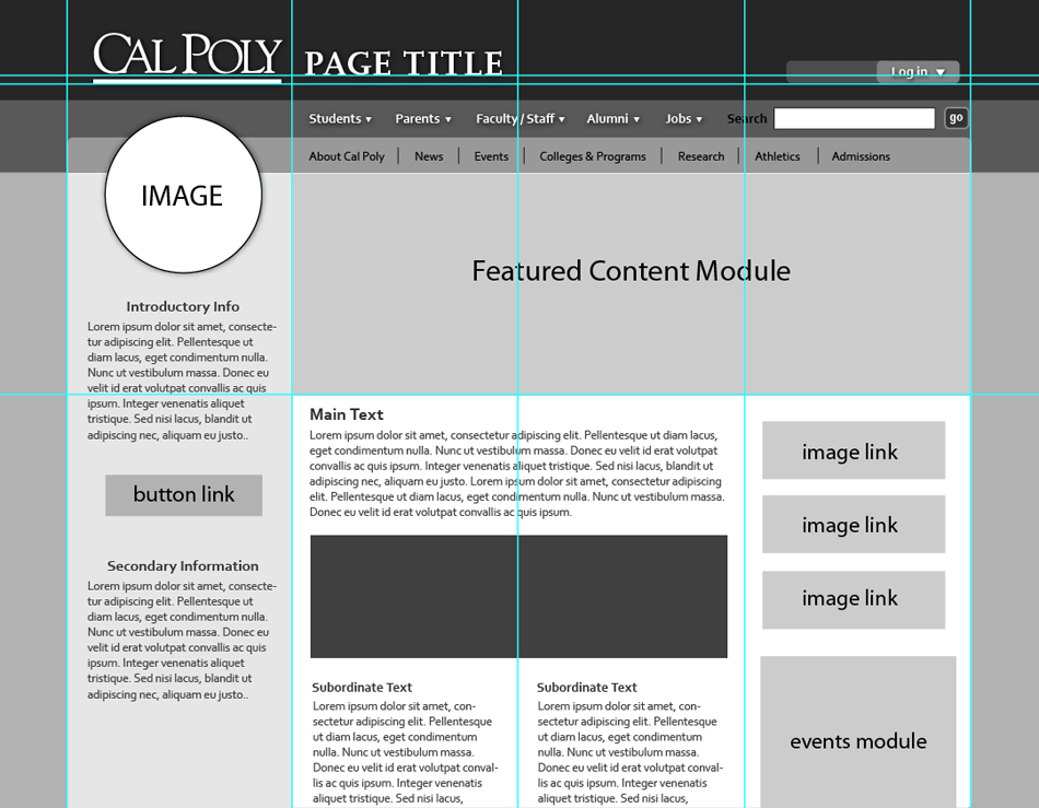 Cal Poly Website wireframe