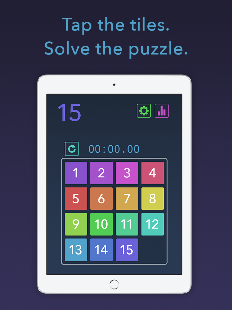 Fifteen puzzle app iPad main screen