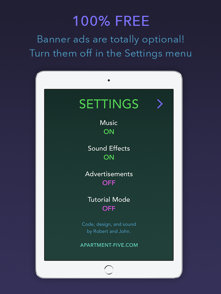 Fifteen puzzle app iPad settings