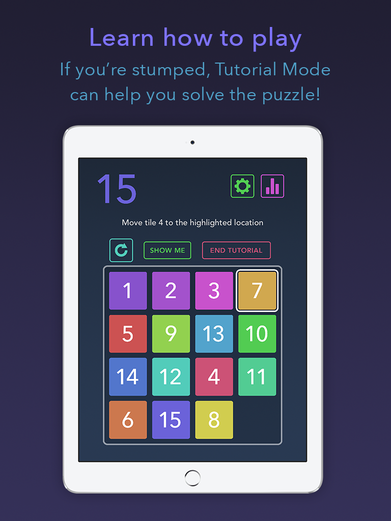 Fifteen puzzle app iPad tutorial