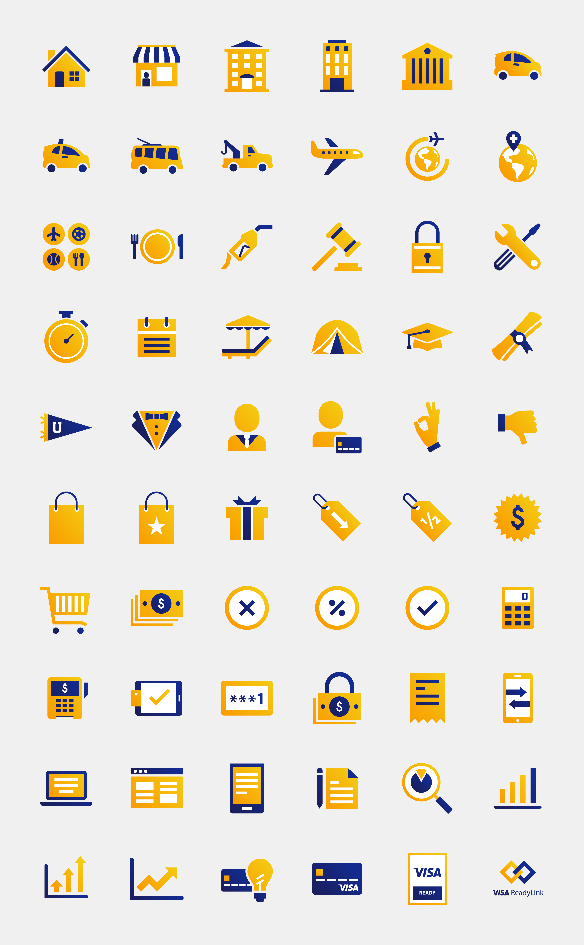 Visa website illustrated icons