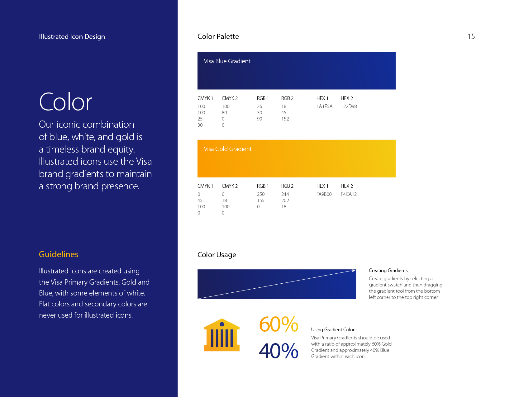 Visa illustrated icons style guide colors