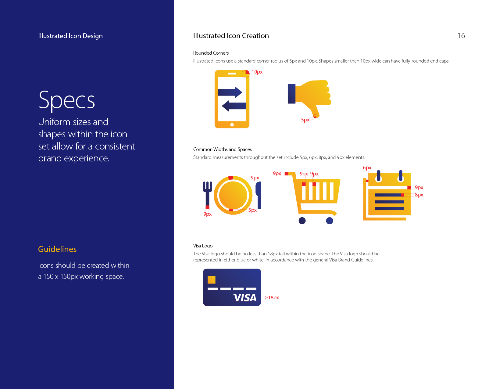 Visa illustrated icons style guide specs